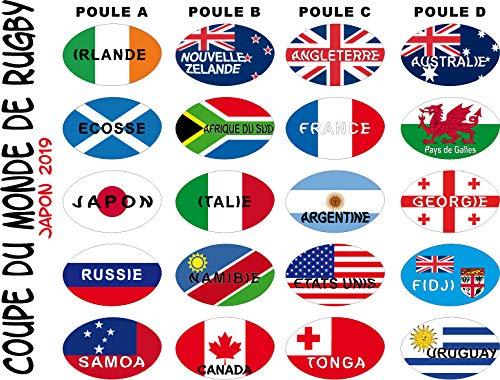 SAFIRMES Aufkleber Weltmeisterschaft Rugby 20 Aufkleber Teilnehmer 17 x 27 mm Vinyl selbstklebend