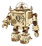 Hands Craft AM601: DIY Build Your Own 3D Wooden Puzzle Music Box with Hand Crank Kit (Orpheus Robot)- Plays Tune Can't Take My Eyes Off of You, Educational STEM Project Brain Teaser Gift