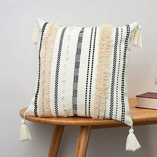 Funda de cojín bohemia decorativa para el hogar, con borla, insertado, muy suave, para sofá, dormitorio, salón, coche, oficina, 45 x 45 cm (negro y caqui)