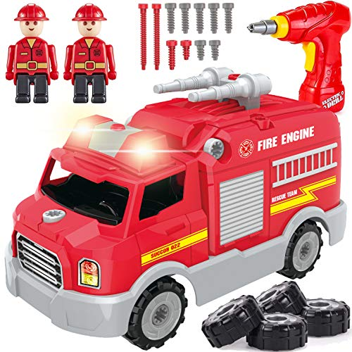 STEM Learning Take Apart Toy Building Set | Build Your Own Car Educational Playset with Tools and Power Drill | DIY Assembly Vehicle for Kids with Realistic Sounds & Lights (Fire Truck)