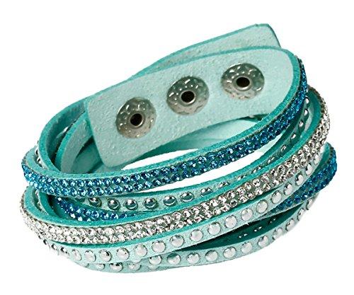 Unique Damen Strass Armand Wickelarmband Kristalle türkis blau weiß edles Alcantara Nieten mit Druckknöpfen zum verstellen