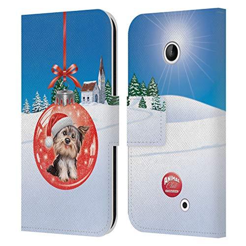 Head Case Designs Ufficiale Animal Club International Cane 2 Palle Natalizie Cover in Pelle a Portafoglio Compatibile con Nokia Lumia 630