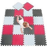 meiqicool Tapis de Sol Enfant et Bébé en Mousse - 18 Dalles Colorées à Imbriquer 30 x 30 cm - Idéal pour l'Éveil de l'enfant Blanc Rouge Gris 010912