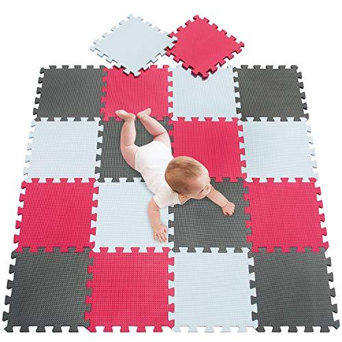 meiqicool Tappeto Puzzle per Bambini Eva Tappetino Piscina Gioco Casa Palestra Set | Morbido Colorato Tappetini Puzzle Giochi per Neonati Bianco Rosso e Grigio 010912