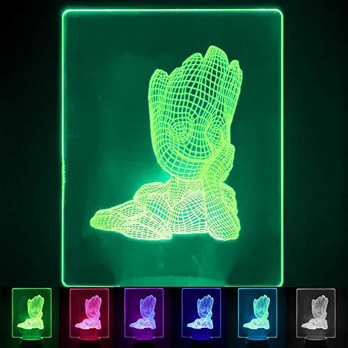 FactorLED Lámpara LED Infantil RGB, ilusión óptica 3D, Decoración 7 colores, incluye Base y Cable USB, Varios modelos: Star Wars, Rey León, Bob Esponja, Osito o Groot (Groot)