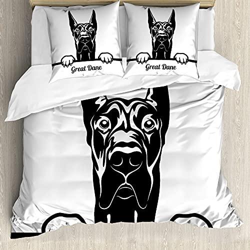 ABAKUHAUS Amante de los Perros Funda Nórdica, Echar un Vistazo Raza del Perro Grande, Estampado Lavable, 3 Piezas con 2 Fundas de Almohada, 200 cm x 200 cm - 80 x 80 cm, En Blanco y Negro