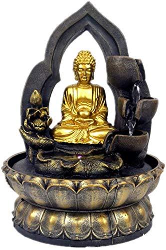 Estatua de Buda de la Suerte, Fuente, Paisaje acuático, Adornos fluidos, decoración Artesanal de Resina, para la decoración de la Oficina de la Sala de Estar, latón