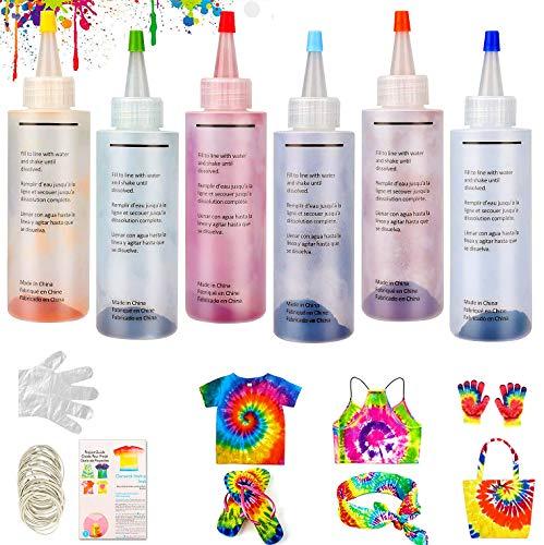 WELLXUNK® Tie Dye Kit, Tinte de Tela Permanente 6 Colores Juego no Tóxico de Tinte de Ropa, Tintes Textiles Tie Dye, para Arte de Bricolaje Tie-Dye para Niños y Adultos (6 Botellas)