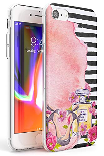 Case Warehouse El Estilo es Siempre Perfume Slim Funda para iPhone 7 Plus TPU Protector Ligero Phone Protectora con Floral Tendencia Moda Diseñador Elegante