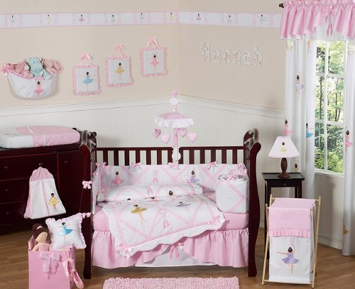 Sweet Jojo Designs Ballet Dancer Ballerina Pink and White Baby Girl Bedding 9pc Crib Set