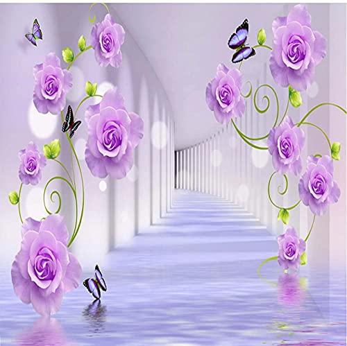 Papel tapiz 3D Púrpura Romántico Rosa Murales autoadhesivos Papel de pared Sala de estar TV Sofá Dormitorio Pegatinas impermeables-S