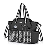 CURMIO Home Health Nurse Bag, Portable Medical Supplies Bag with Shoulder Strap for Home Visits, Clinical Study, Health Care, Black with Arrow(Bag Only, Patented Design)