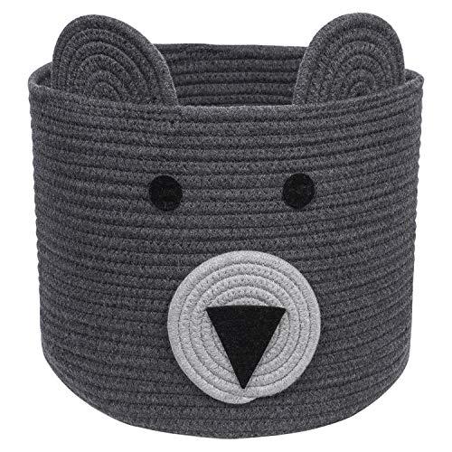 CherryNow Bear Basket, Cotton Rope Basket, Woven Laundry Hamper, Cute Storage Bin in Bedroom, Nursery & Living Room