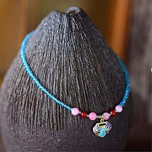 Plztou Natural Blue Spinel Diamond Cut Beads Toblet For Women 2mm Hecho a Mano Cloisonn Esmalte de la Paz Lock Ajustable Charm Anklet Pulsera Playa Pie Tobillo Joyería Regalo
