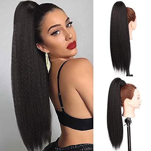 Pferdeschwanz haarteil clip extension lang Haarverlängerunge extension Natürliches Schwarz Afro Puff Perücke Lockige Ponytail fuer zopf (YAKI 1B/ca.60cm) VD058A