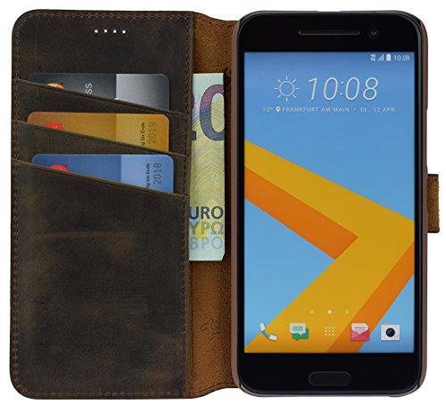 Suncase Book-Style Tasche kompatibel mit HTC 10 Ledertasche Leder Schutzhülle Hülle Hülle (mit Standfunktion & 3 x Kartenfach) antik braun