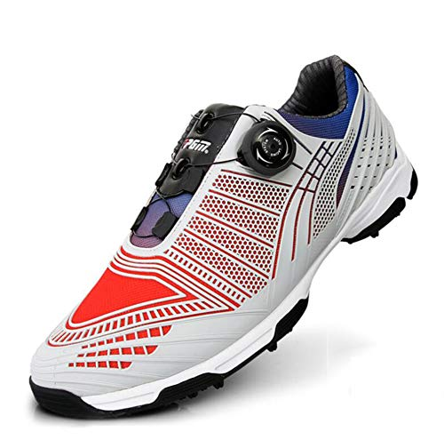 NAMENLOS Kinder PGM Golfschuhe mit Spikes Anti-Skid Wasserdicht Twist Leichte Turnschuhe mit BOA Schnürsystem Männer Sport Schuhe,Rot,36