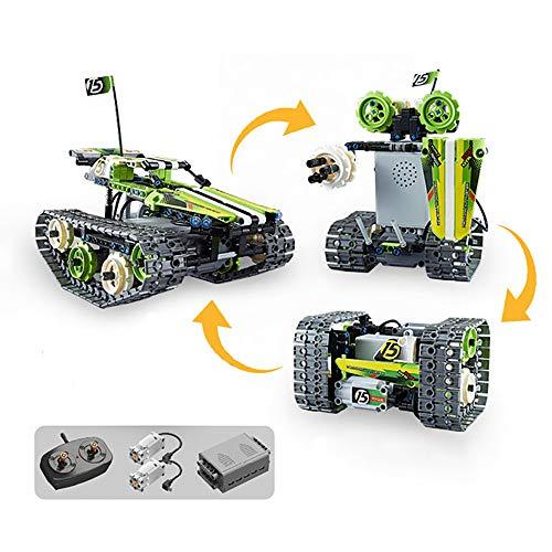 JW-YZWJ 3-in-1-Fernbedienungsgebäude-Kits-verfolgtes Auto/Roboter/Tank, 2,4 GHz wiederaufladbarer Rennspielzeug Set Geschenk für 8-14 Jahre alte Jungen und Mädchen