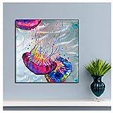 Chihie Abstrakte Bunte Qualle Poster und Farbe auf Leinwand