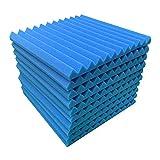 Paquete de 10 paneles de espuma acústica, 30,5 x 30,4 x 2,5 cm, para estudio de insonorización de espuma a prueba de fuego, ideal para el hogar y el estudio aislamiento acústico (10 unidades, azul)