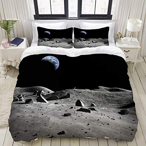 VAMIX 布団カバー シングル 3点セット,月面から見た地球の残骸広大な宇宙昼と夜のサイクルPhotography, ベッド用 掛け布団 + 枕 カバー 洋式 和式兼用175 x 210cm