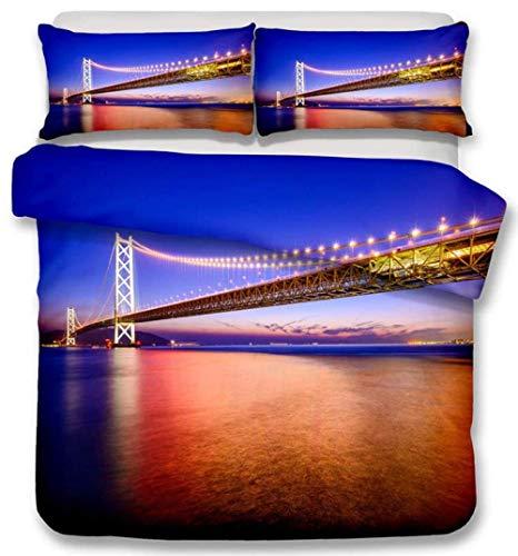 HANTAODG Funda Nórdica Vista del Puente Golden Gate 150x200cm Microfibra Imprimiendo Juego de Cama Funda Edredón Suave y Funda de Almohada 2 Piezas