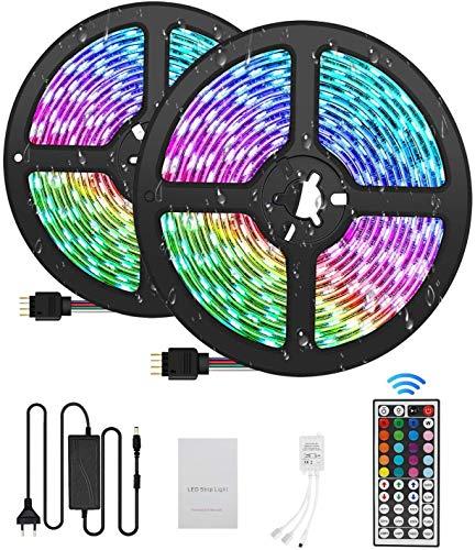 azorex Tiras LED Luces RGB 5050 5m/10m con Control Remoto Impermeable Decoración Inteligentes Adhesiva 20 Colores y 6 Modos para Pared, Baño ,Escaleras, Cocina, Dormitorio, TV (10M)