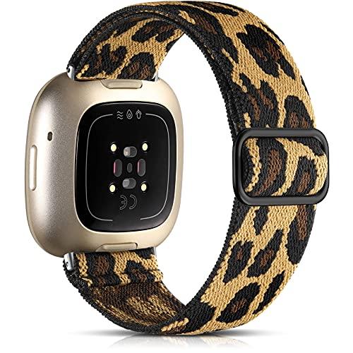 drivego Compatible con Fitbit Versa 3 / Fitbit Sense Correa, Correa Deportiva de Nailon Elástico Elegante para Fitbit Versa 3 / Fitbit Sense para Mujeres y Hombres, Leopardo
