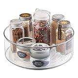 *mDesign Especier giratori per a armari i taula de cuina – Pràctic prestatge per a utensilis de cuina – Plat giratori de plàstic per a espècies – transparent
