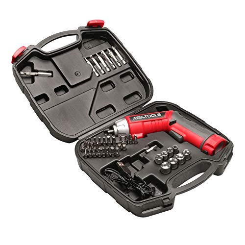 Great Working Tools Cordless Screwdriver Set - 45 Piece Power Screwdriver with 3.6v Lithium-Ion Battery, Pivoting Head, Flashlight and Case for Home Repair Projects, Red/Black
