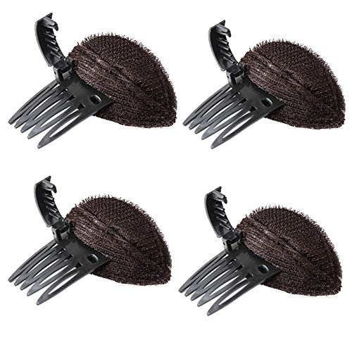 4 PCS Perfect Puff Hair Head Cushion?Bump It Up Hair Clip,Front Hair Base Hairpin Comb,Fluffy Princess Styling Insert Tool for Women Girls (Brown)
