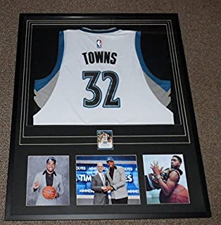 Karl Anthony Towns Signed Framed 31x39 Jersey & Photo Display PANINI TWolves