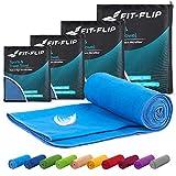 Fit-Flip Serviette en Microfibre – 15 Couleurs, 6 Tailles – compactes et Rapidement sèches – Microfibre Serviette – Serviette de Sport et Serviette Plage XXL (100x200cm - Bleu)