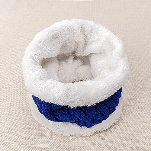 Nuevo Sombrero de bebé Traje de Bufanda Otoño Invierno Tejido para niños Conjunto de Bufanda de algodón para niñas y niños Sombreros Cuello Bufanda para niños-Dark Blue 3