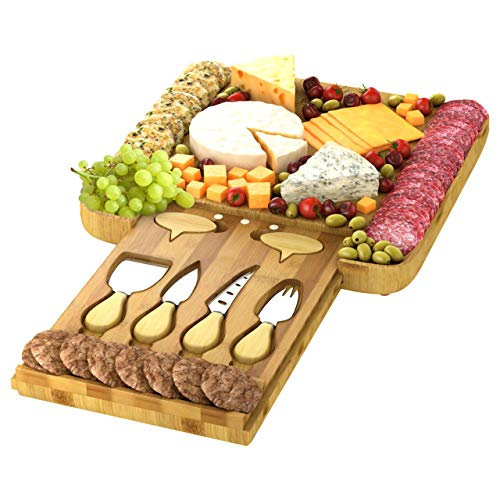 ECOEXL Large Cheese Board, Charcuterie Bamboo Serving Tray Platter with 4 Knives and Cheese Markers - Perfect Gift Idea for Men, Women, New Home, Birthdays, Wedding Registry, Housewarming