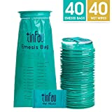 Disposal Vomit Bags, Tinfau Medical Emesis Bag with Leakproof & Thicken Design, 40 Wet Wipes for Reshing, Portable Nausea Bags for Travel, Uber, Motion Sickness, Pregnancy (1000ml/40 Pack)
