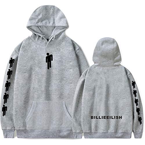 Preisvergleich Produktbild Siskey Novelty Hoodie Billie Eilish Sweatshirts for Fan Support Hooded, Billie Eilish When We All Fall Asleep Where Do We Go Hoodie for Fans-Grey, M