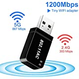 USB WiFi Adapter for PC/Desktop/Laptop Wireless Network Adapter Dual Band AC 1200Mbps 5.8GHz /2.4Ghz WiFi Dongle with Built-in Antenna USB 3.0 2.0 for Windows 10/7/8/8.1/XP/Mac OS Linux