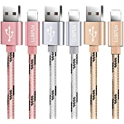 Luvfun Charger Cable for iPhone, [123M-3Pack] Nylon Braided Fast Charger Cable Compatible with iPhone XS X 8 8 Plus 7 7 Plus 6s 6s Plus 6 6 Plus iPad iPod (Rose Gold+Silver+Gold)