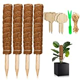 Cosumina Moss Pole,4 Pcs 16 Inches Moss Plant Poles for Indoor Plants to Grow Upwards, Totem Pole Plant Support, Moss Pole for Potted Plants, Coir Moss Sticks for Indoor Climbing Plants