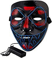 Halloween Light Up Mask Led EL Wire Mask for Halloween Masquerade Cosplay for Men Women Teens (Blue)