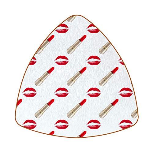 Juego de 6 posavasos triangulares para bebidas sexy lápiz labial dorado de piel para proteger muebles, resistente al calor, decoración de bar de cocina, juego de 6