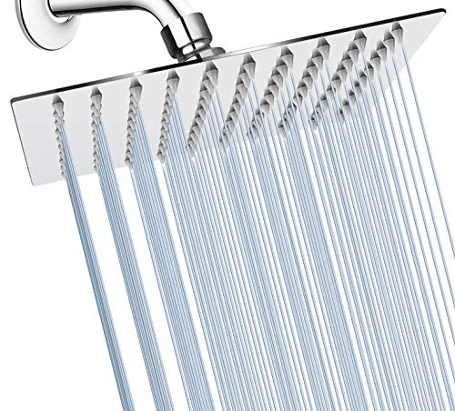 GGStudy Square10 Inch Square Stainless Steel Shower Head Rain Style Shower Heads Chrome Ultra Thin Design-Best Pressure Boosting