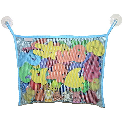 Bluelans Grande bébé jouet de bain Organiseur de sac avec 2 ventouses – environ 45 cm x 35 cm, bleu clair, Taille unique