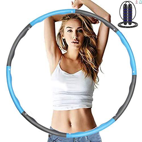 Hula Hoop zur Gewichtsreduktion,Reifen mit 3M Springseile Kostenlos mit Schaumstoff ca 1,2 kg Gewichten, Einstellbar Bereit 8 Abschnitten Breit 48–88 cm beschwerter Hula Hoop Reifen für Fitness