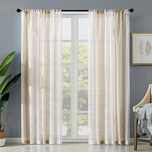 Beige White Stripe Sheer Curtain Farmhouse Window Drapes 63 Inches Long 2 Pack Thermal Insulated Voile Privacy Curtain Panels Simple Modern Rod Pocket Window Treatment for Living Room/Bedroom