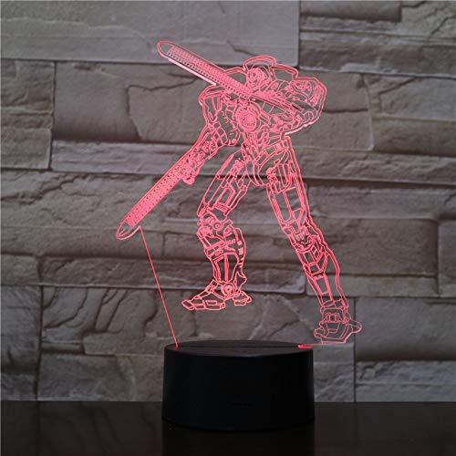 jiushixw 3D acryl nachtlampje met afstandsbediening van kleur veranderende tafellamp film karakter vervanging Halloween glijbaan kind geschenk bed kooi tafellamp apparaat