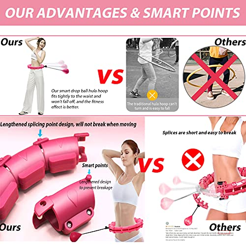 Ansharinc Weighted Hula Hoops for Adults and Kids, Smart Hula Hoops for Weight Loss, 1kg Adjustable Weighted Hula Hoop for Exercise, Fitness Hula Hoops at Home and Office