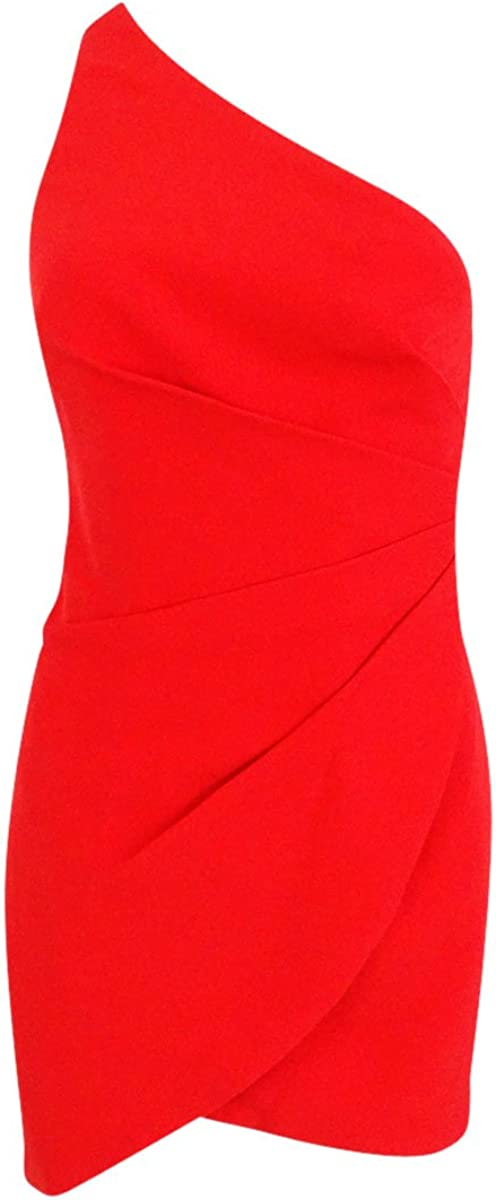 Fame and Partners Women's One-Shoulder Satin Closed-Back Dress (18, Cherry Red)
