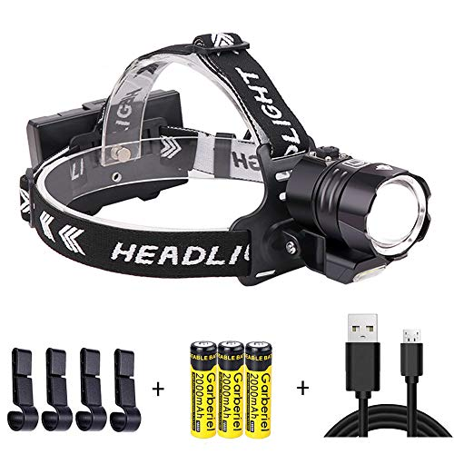 Garberiel 12000 High Lumens XHP90 Headlamp Ultra Bright Rechargeable LED Head Lamp with POWER BANK Function, Waterproof, 4 Modes, Zoomable Headlight for Hunting, Camping, Fishing